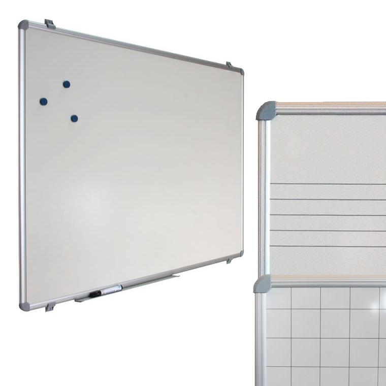 Quadros pautados ou quadriculados, magnéticos, com moldura de alumínio e cavalete opcional