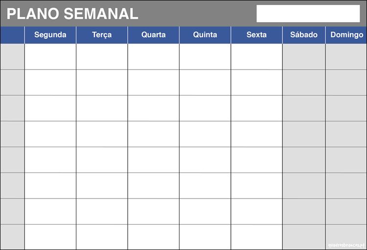 Quadro de planeamento anual