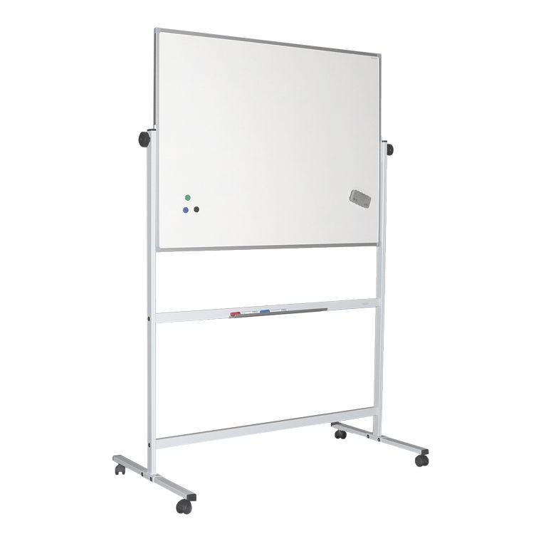 Quadros brancos de dupla face, rotativos, magnéticos, com cavalete e moldura de alumínio