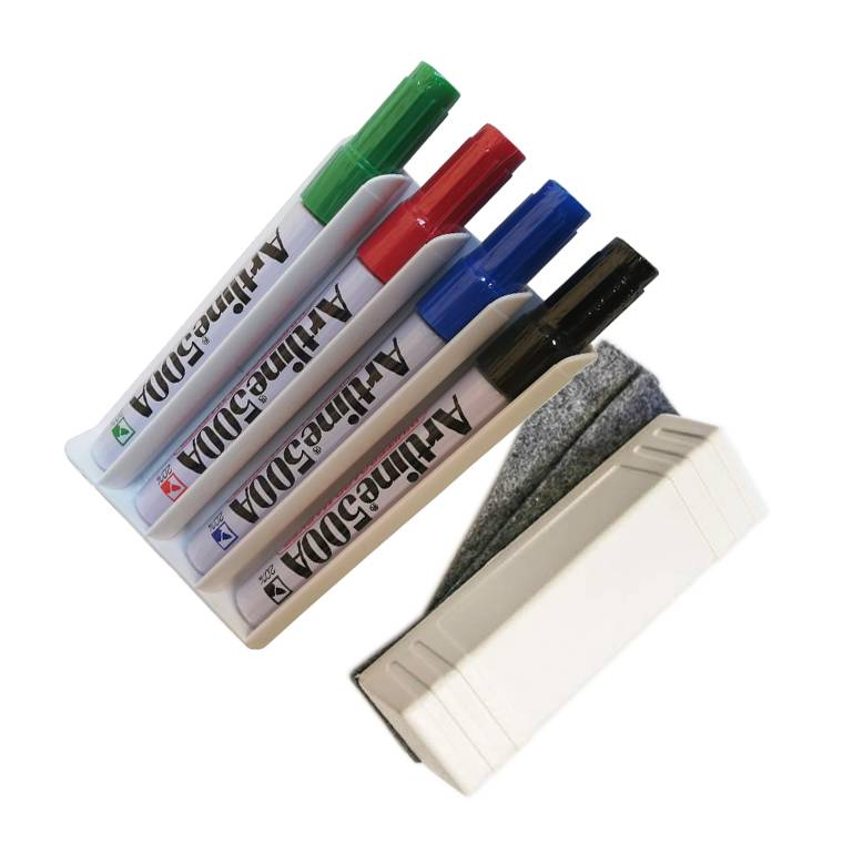 4 Marcadores Artline 500A 2mm + 1 Apagador Magnético com 3 recargas + Porta marcadores magnético